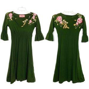 JWLA Johnny Was floral embroidered dress